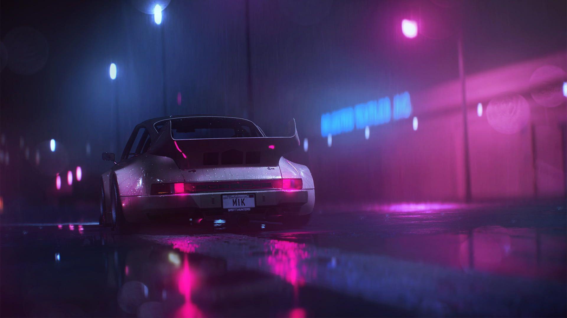 Gray Sports Car Digital Art Car Neon Porsche Synthwave Retrowave 1080p Wallpaper Hdwallpap Vaporwave Wallpaper Background Images Wallpapers Neon Nights