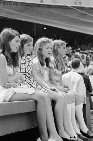 56 Years of Caroline 1969 Maria Shriver, Courtney Kennedy, Caroline Kennedy, and Sydney Lawford at the dedication ceremonies at Robert F. Kennedy Memorial Stadium.