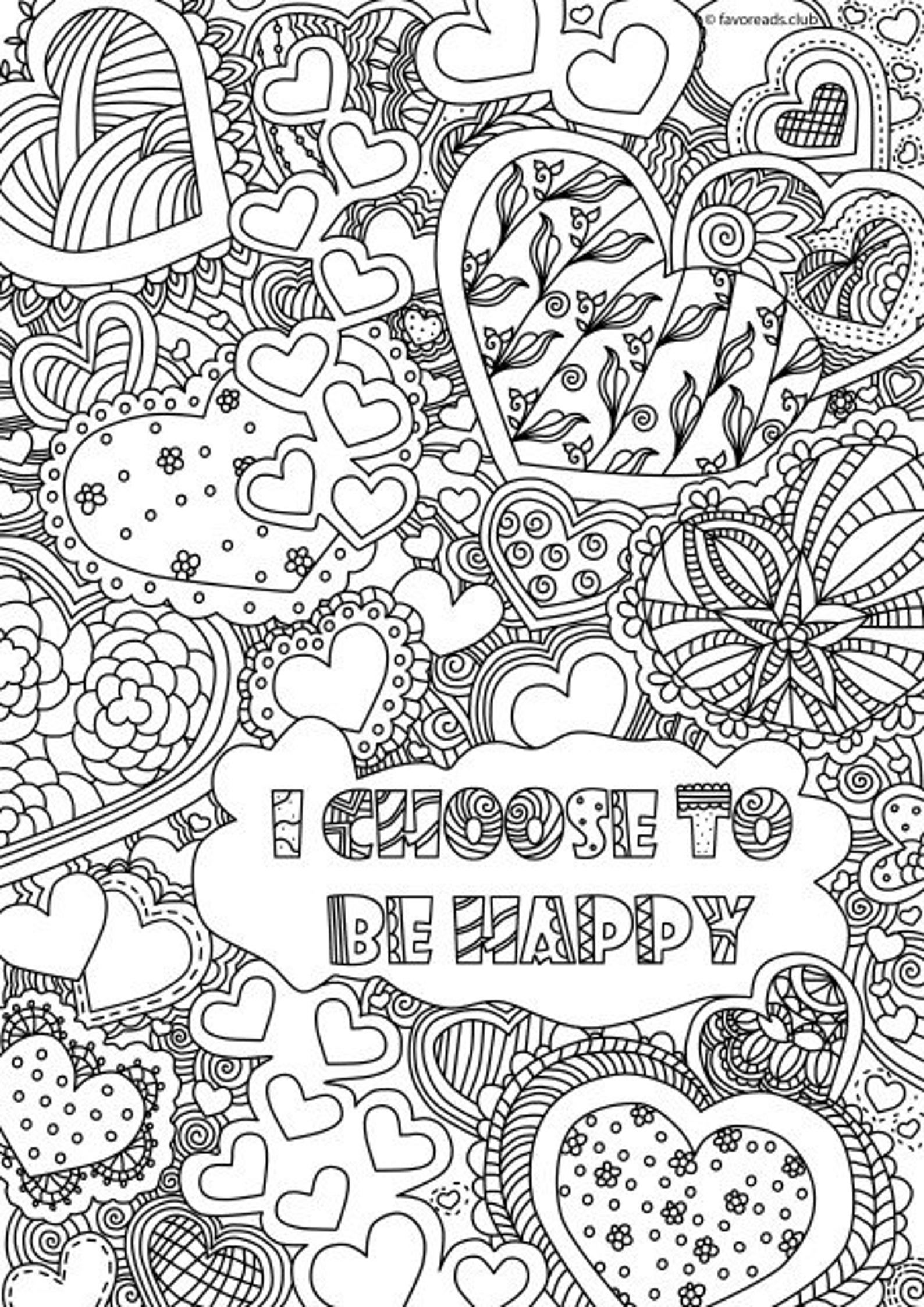 I Choose To Be Happy Printable Adult Coloring Page From