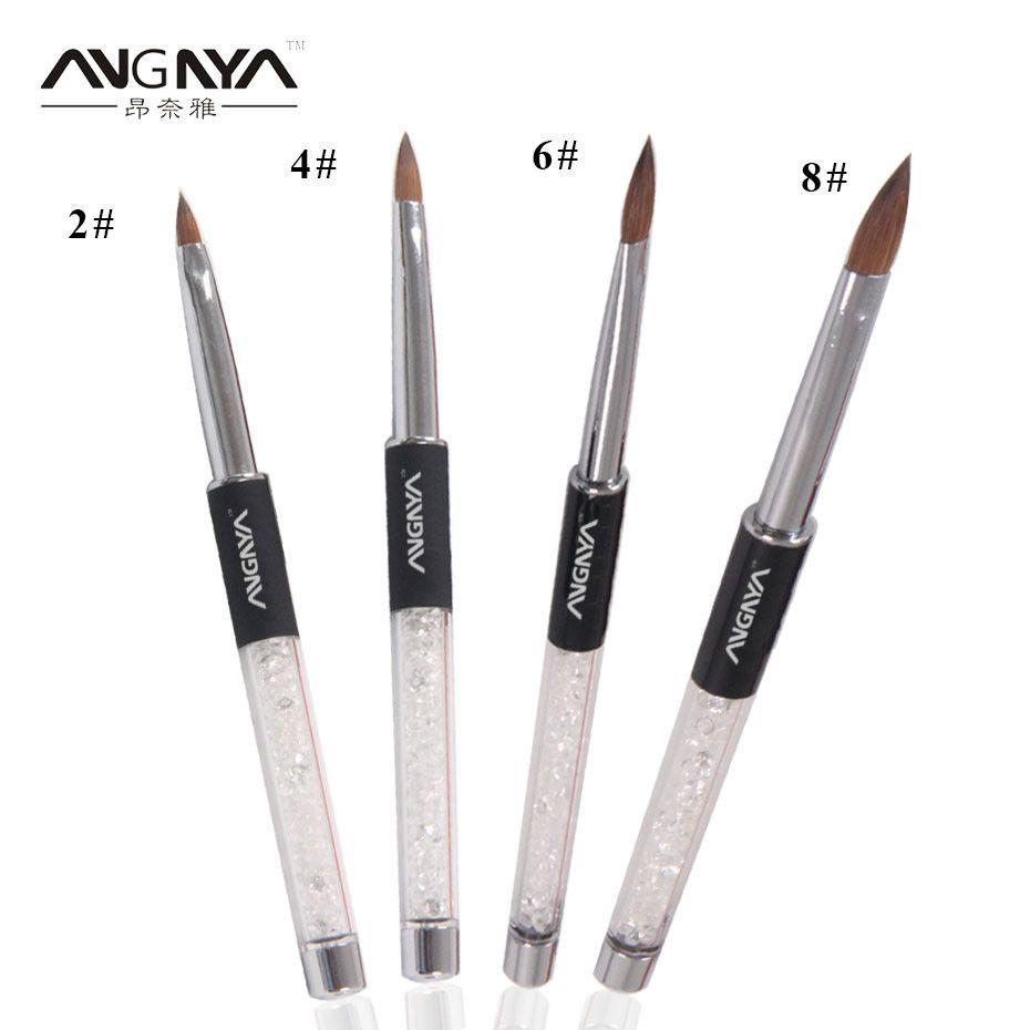 1pc Top Quality Art Kolinsky Acrylic Round Kolinsky Nail Brush Size 2 4 6 8 10 Nail Brushes Nail Tools Acrylic Nail Brush