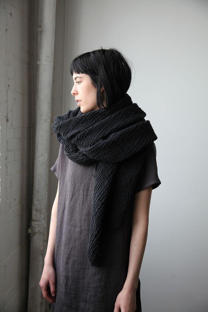 Linen Gauze Scarf- Black | Ovate