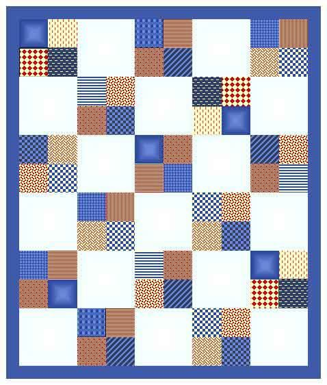 white square, blue outter edge, and one square made of two blue ... : two fabric quilts - Adamdwight.com