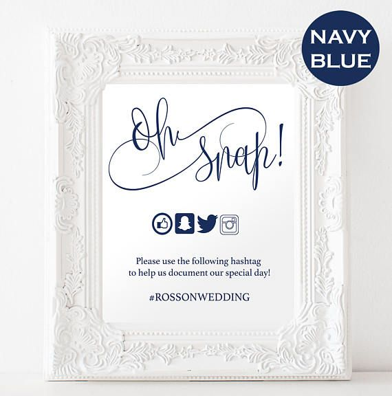 Oh Snap Wedding Sign  Navy Blue Wedding  Modern Calligraphy