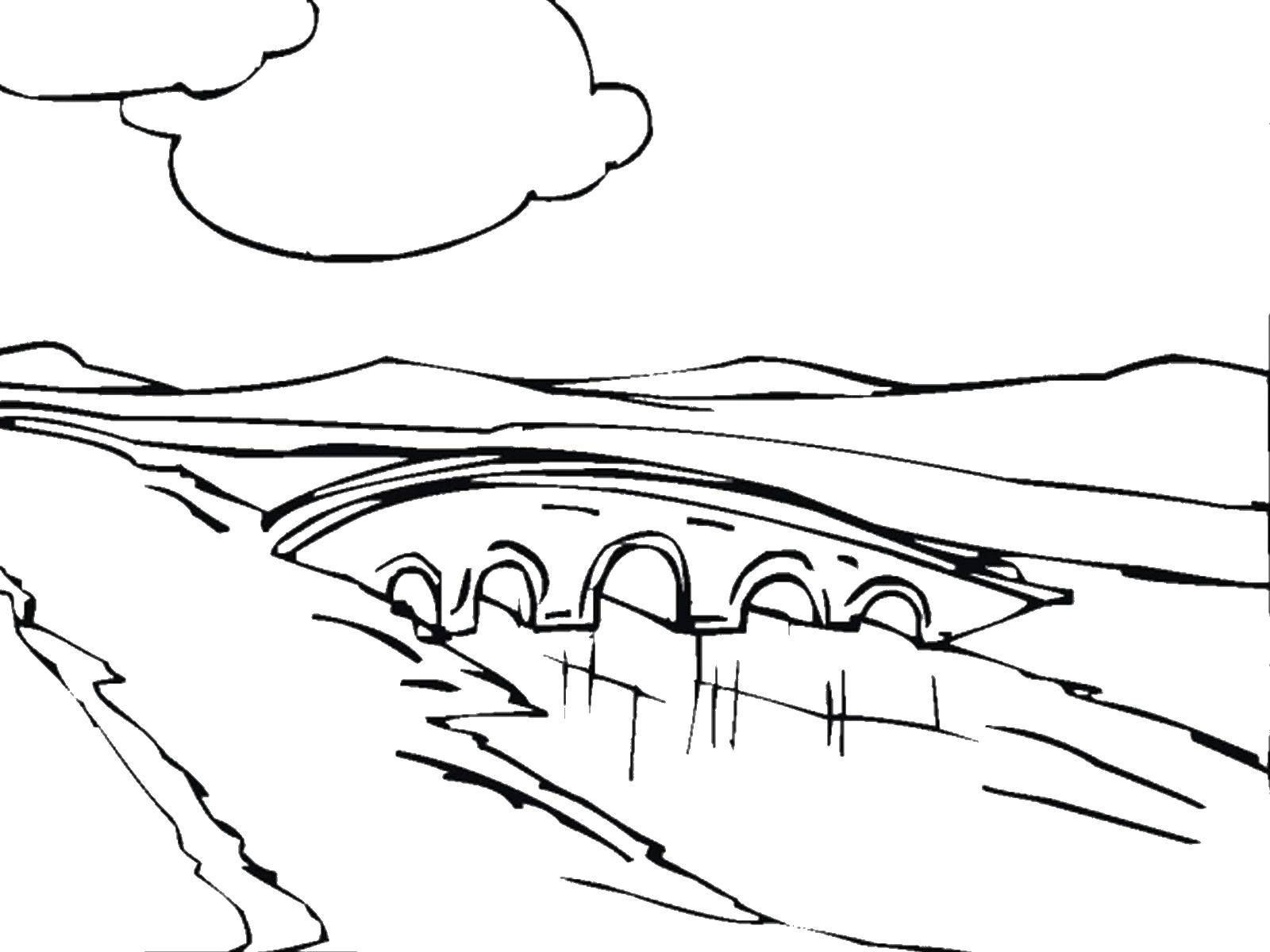 River With Bridge Coloring Page