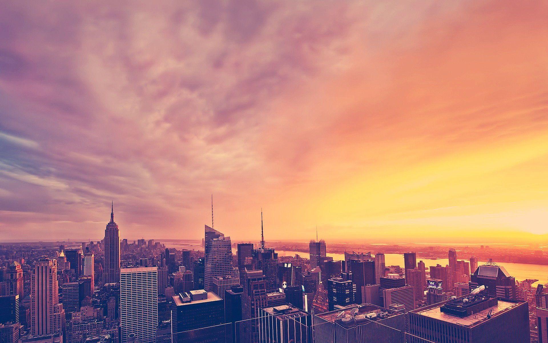 Sunset At New York City Sunset City London City City Wallpaper