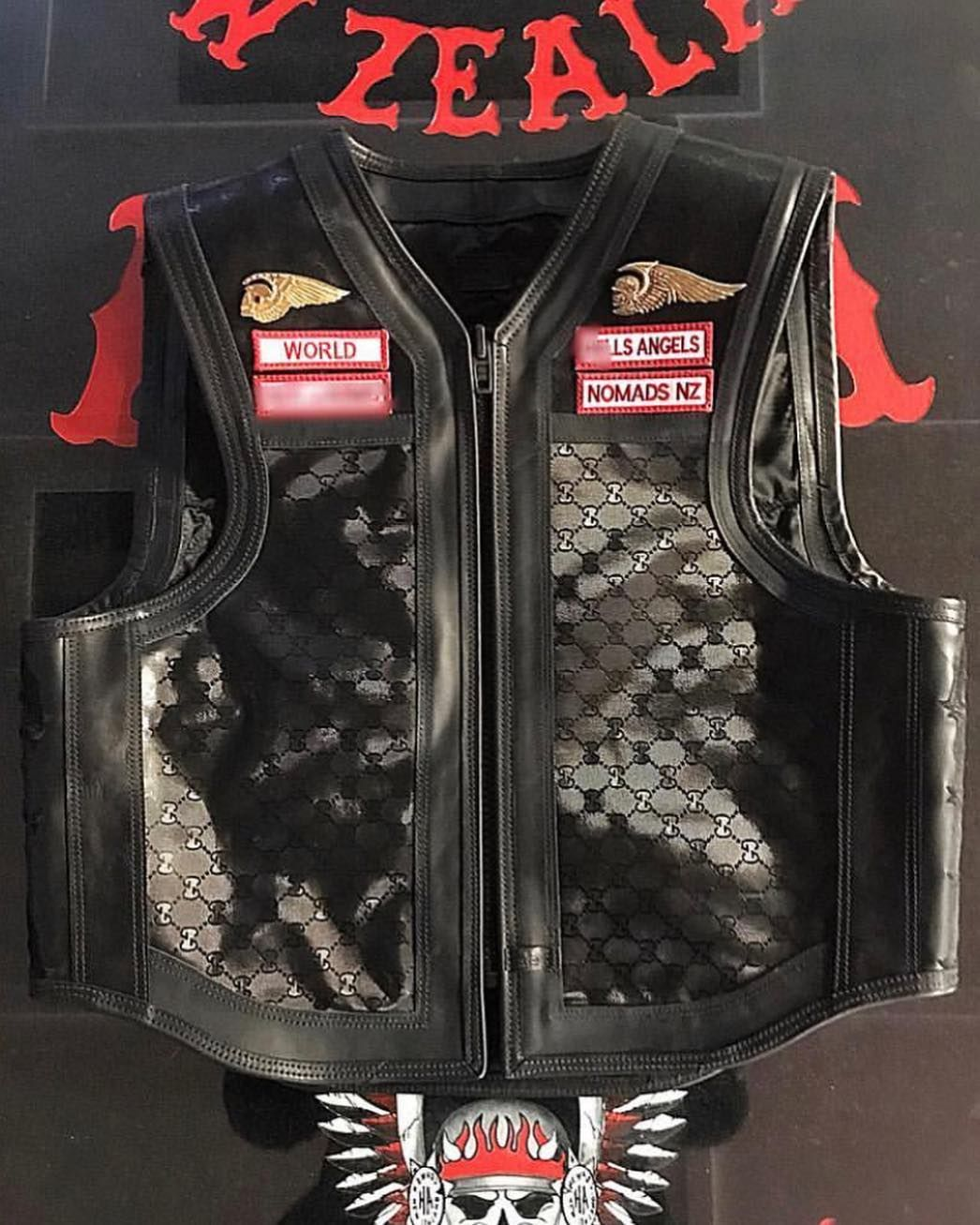 A black on black Gucci Hells Angels New Zealand vest