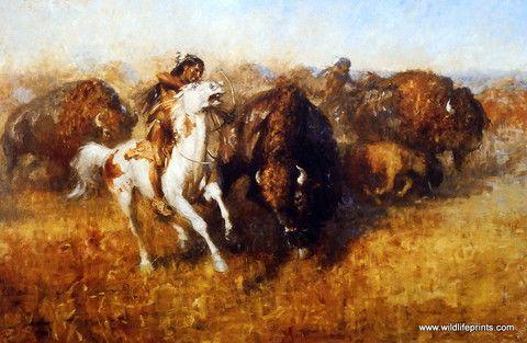 Plains Indians Hunting Buffalo