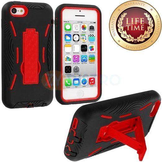 Amazon.com: myLife (TM) Black + Red Armor Shell (Armorsuit Defender) Case for NEW iPhone 5C Generation Touch Phone (Built In Kickstand + Thi...