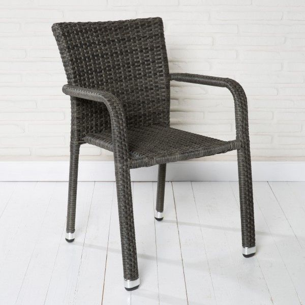 Hochwertig Gartenstuhl Aluminium Stapelbar Polyrattan Grau Stapelstuhl Gartenstühle  Stühle