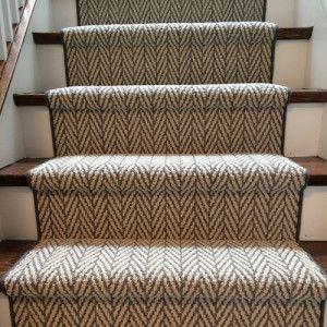 Good Contemporary Herringbone Design Carpet Runner On Stairs In Etobicoke