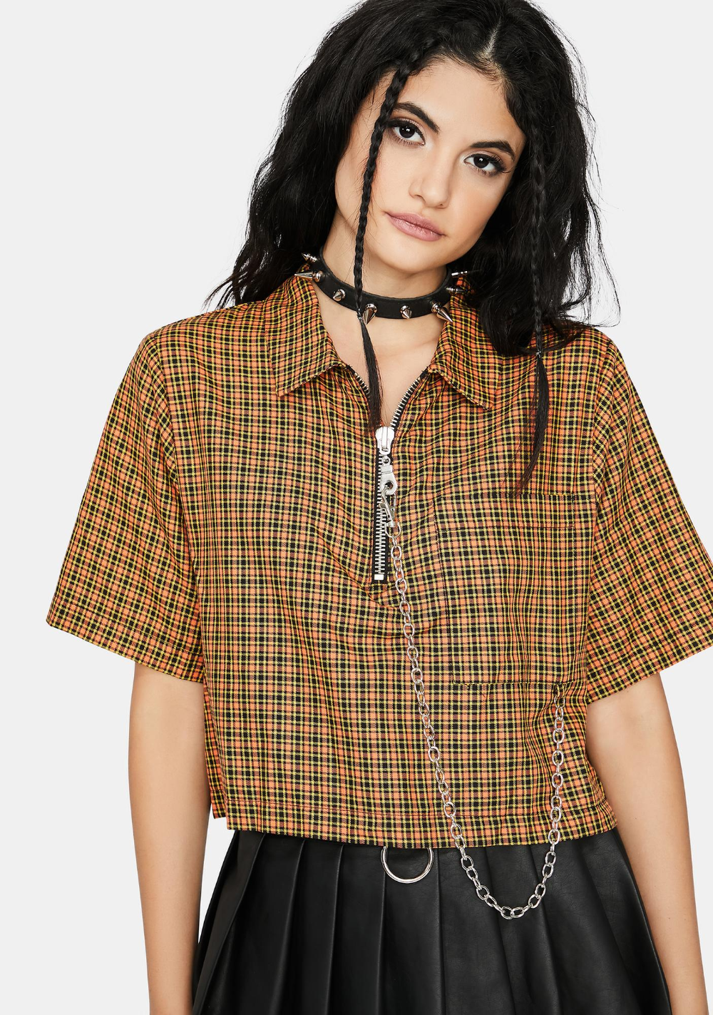 The Ragged Priest Activation Plaid Crop Top   Dolls Kill