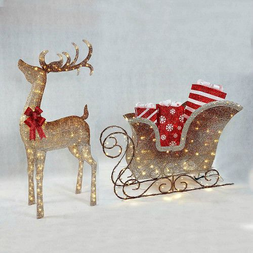 Lighted Yard Santas Sleigh Reindeer Christmas Outdoor Decoration With Gift  Boxes #MembersMark - Lighted Yard Santas Sleigh Reindeer Christmas Outdoor Decoration