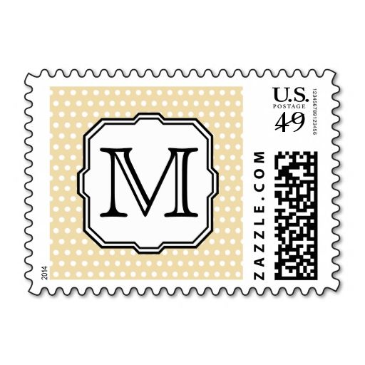 Your Letter. Custom Monogram. Beige Polka Dot. Stamps. This great stamp design is available for customization or ready to buy as is. Of course, it can be sent through standard U.S. Mail. Just click the image to make your own!