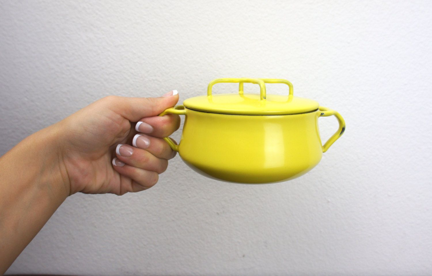 Vintage Dansk Kobenstyle Yellow 4 5 Inch Mini Dutch Oven Etsy Enameled Steel Dansk Serve Snacks