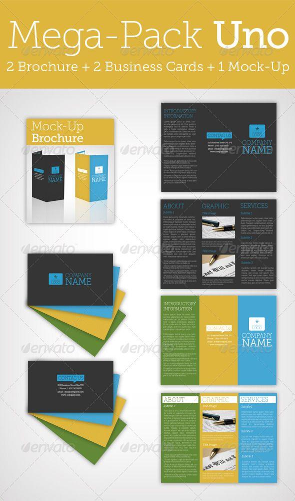 Mega Pack Uno / Brochure + Business Card + Mock Up | Pinterest ...