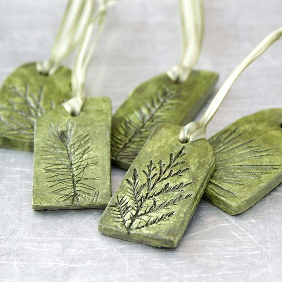 christmas tree green Ceramic Ornaments with Natural Plant Impression Christmas Holiday Decoration  Set of 5  I have handsculpted these nature inspired clay ornaments from...
