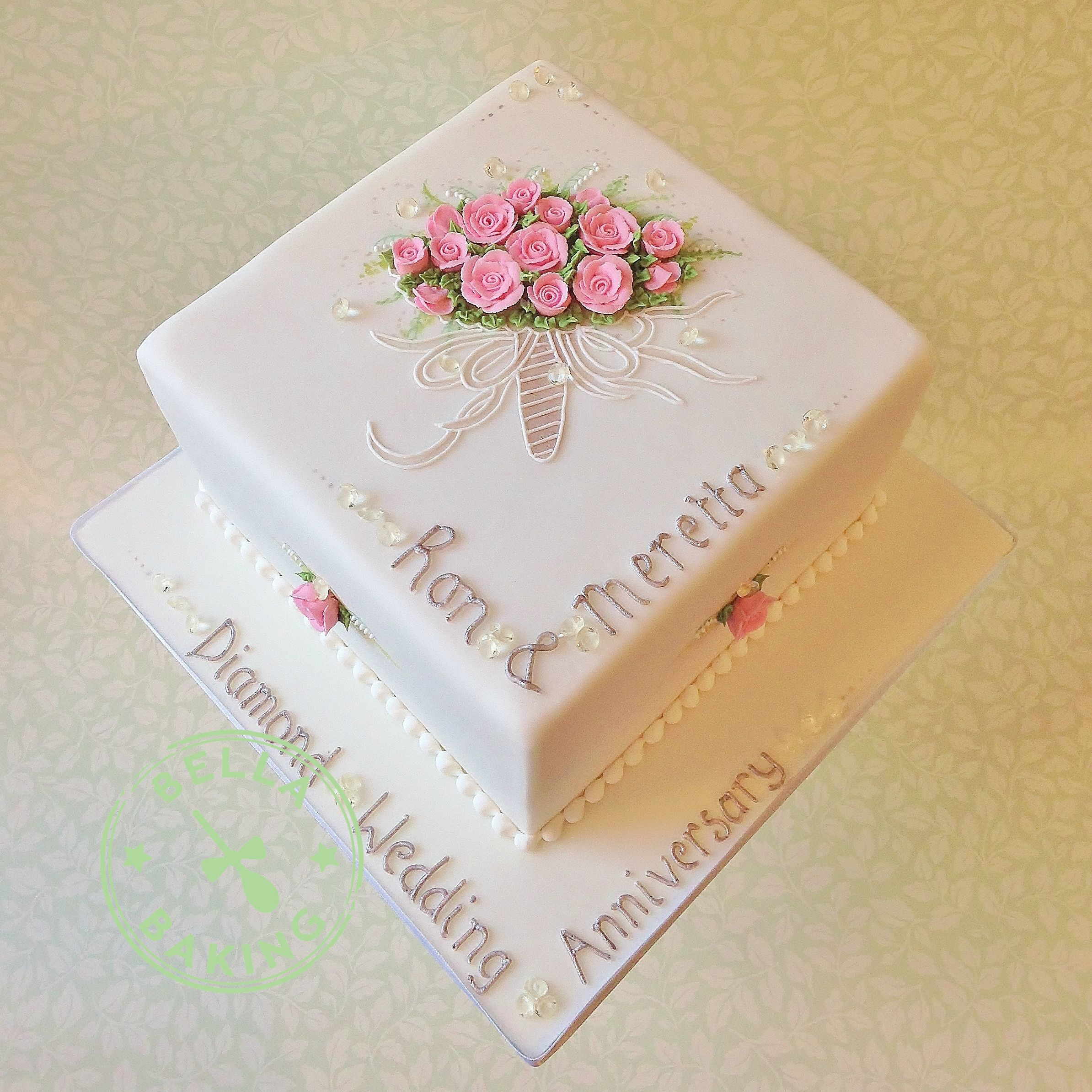 Diamond Wedding Anniversary cake. All decoration is piped in Royal ...