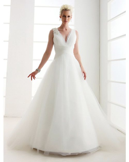 Princess V-neck Floor Length Tulle Wedding Dress with Beading Pearl Lace Criss-Cross by LAN TING BRIDE® - USD $119.99 ! HOT Product! A hot product at an incredible low price is now on sale! Come check it out along with other items like this. Get great discounts, earn Rewards and much more each time you shop with us!