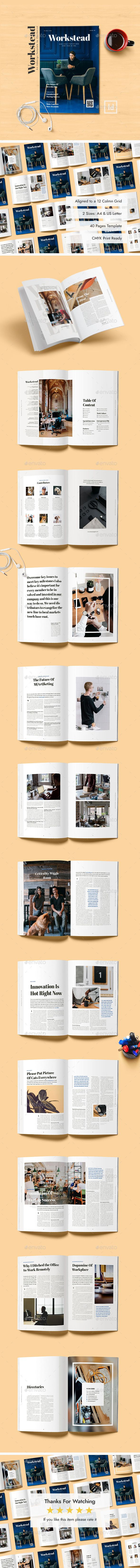 Workstead Magazine - 40 Pages Indesign Template   Indesign templates ...