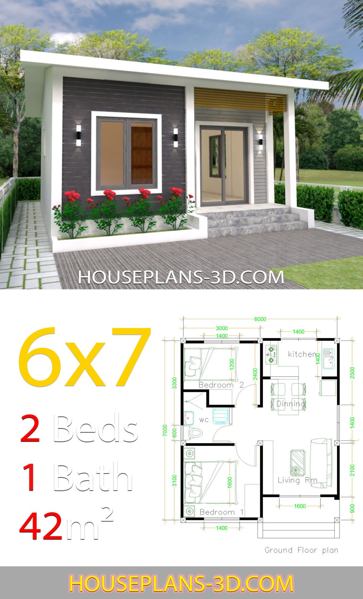 House Design 6x7 With 2 Bedrooms House Plans 3d In 2020 House Plans Small House Design Plans Simple House Design