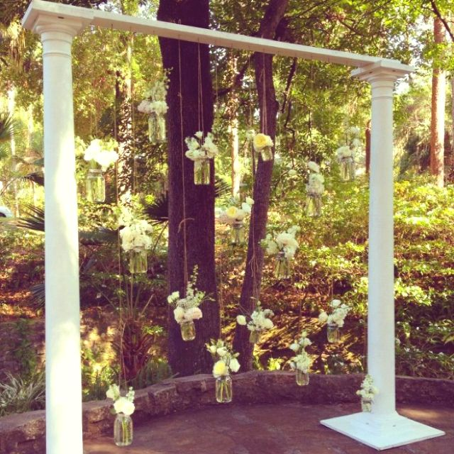 Hanging mason jars   Ceremony Decor   Wedding decorations ...