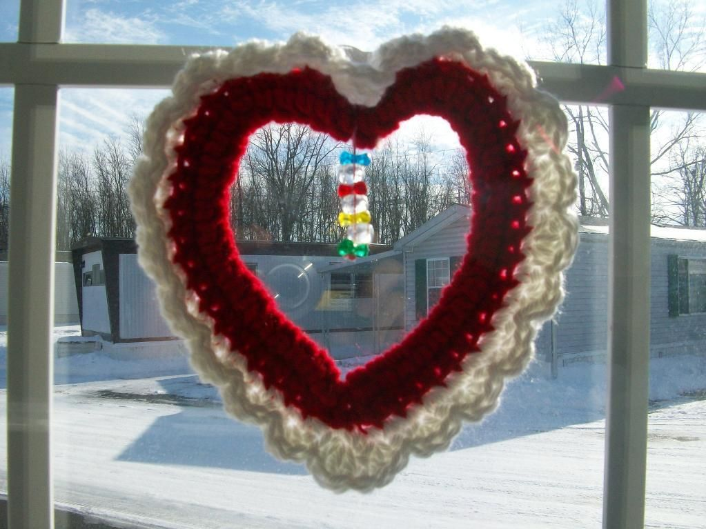 Looking for crocheting project inspiration? Check out Valentine Window hanger by member cheektowa17758. - via @Craftsy