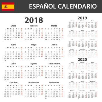 Image Details ISS_14894_02065 - Spanish Calendar for 2018, 2019 and