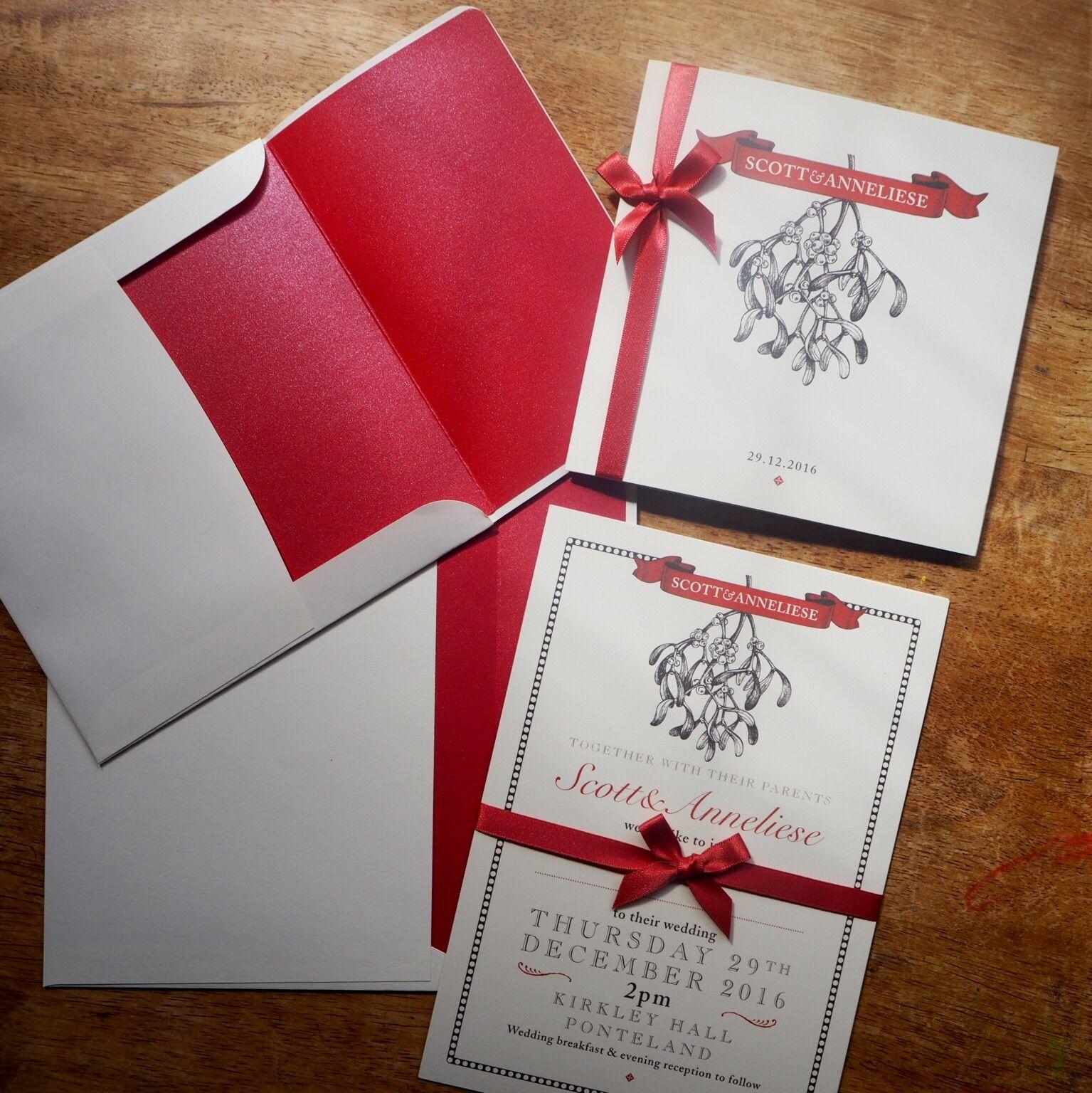 Vintage mistletoe illustration - 150mm square folded invitation and ...