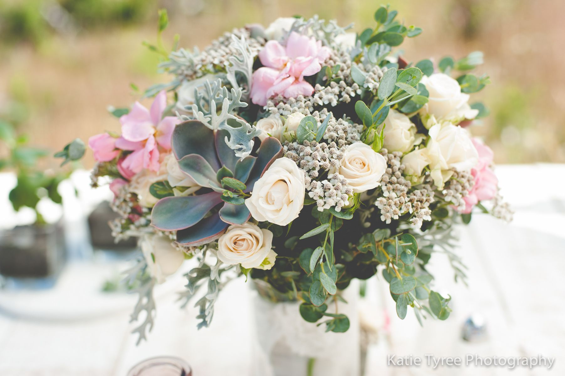 rustic wedding bridal bouquet featuring light pink spray roses white yarrow and blue gray. Black Bedroom Furniture Sets. Home Design Ideas