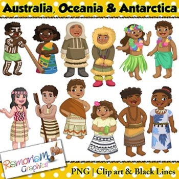 Children Of The World Clip Art Australia Oceania Antarctica This Set Contains A Boy And Girl Dressed In The Trad Clip Art Kids Clipart World Thinking Day