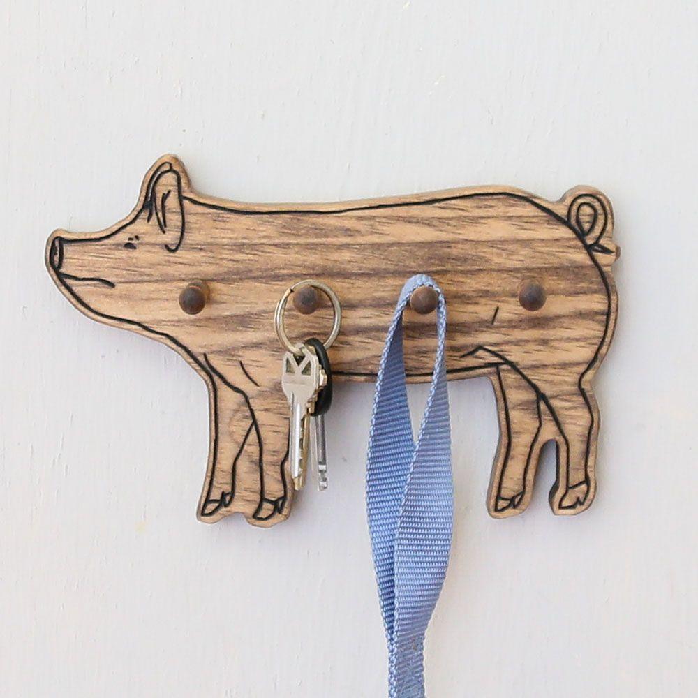 Wooden Pig Key Rack North Carolina