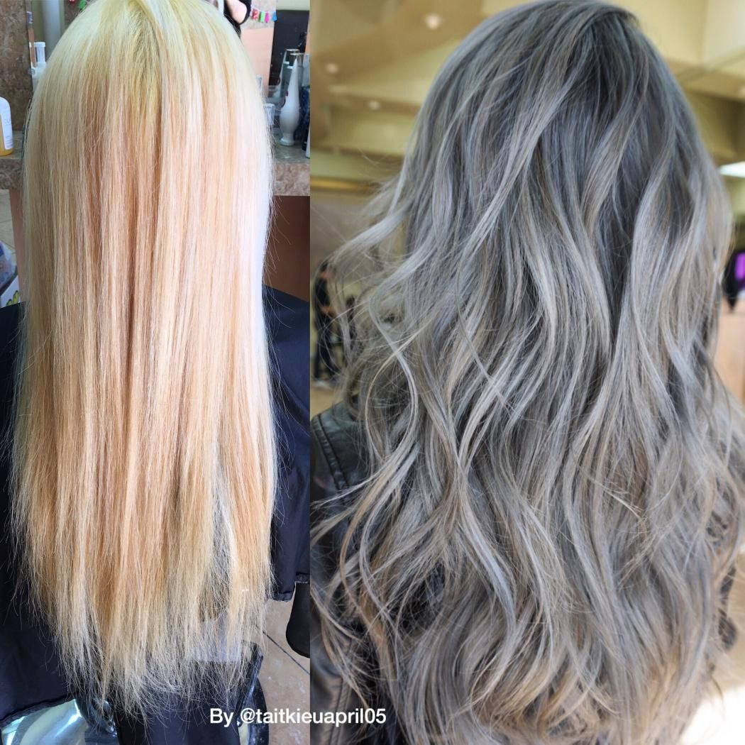 TRANSFORMATION: Bleached Out To Dimensional Blue/Gray | Bold Hair color | Hair color blue, Hair ...
