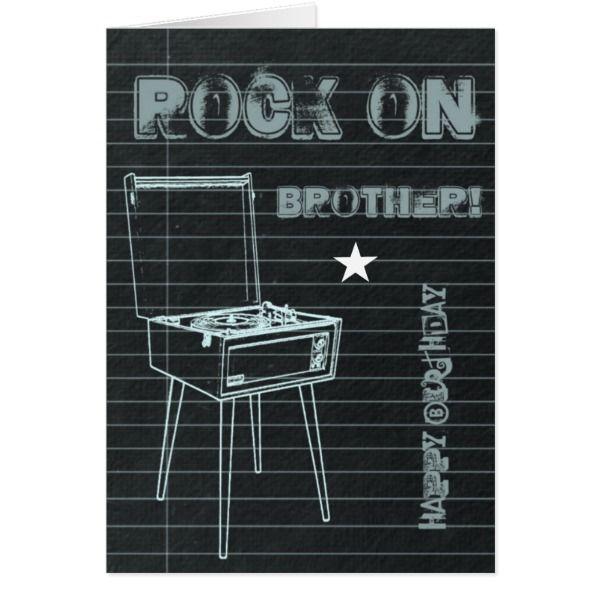 Rock On Brother Happy Birthday Card Cards Birthday Happybirthday