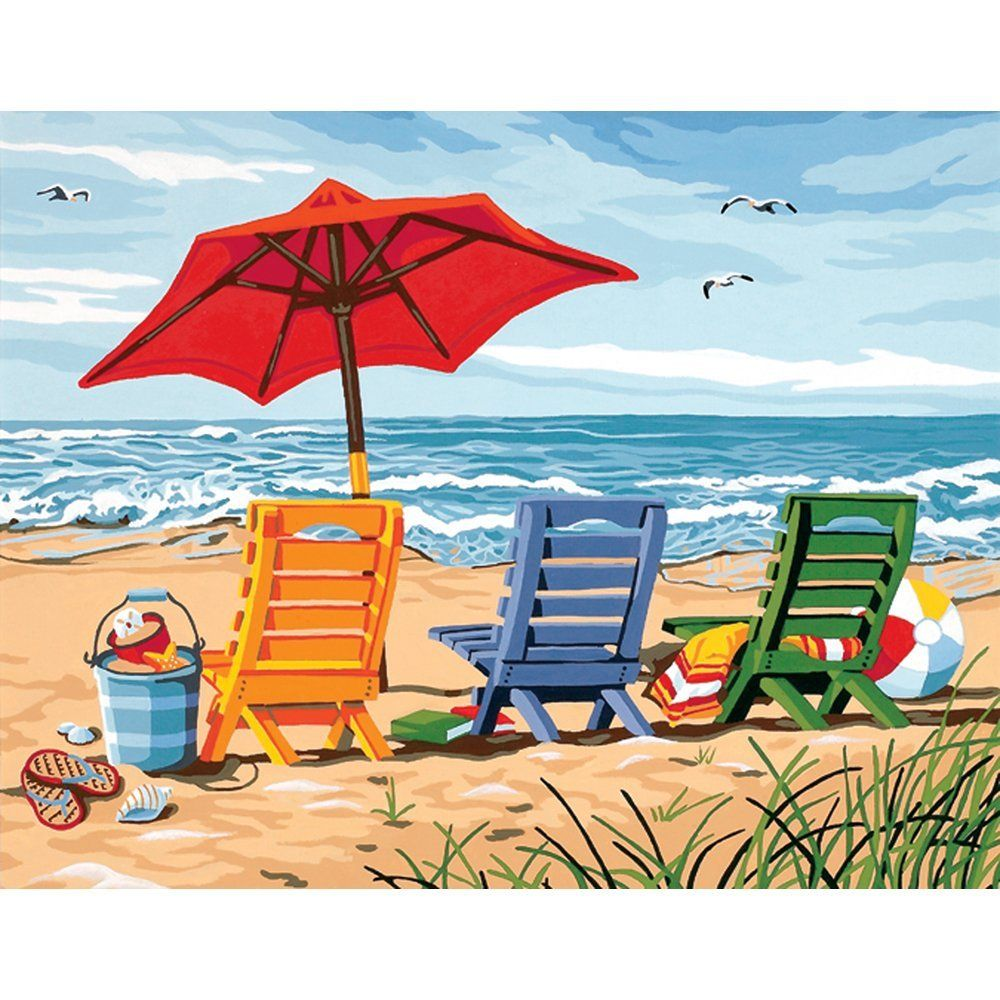 Amazon.com: 11 x 14 Beach Chair Trio Paint Works paint-by-number kit