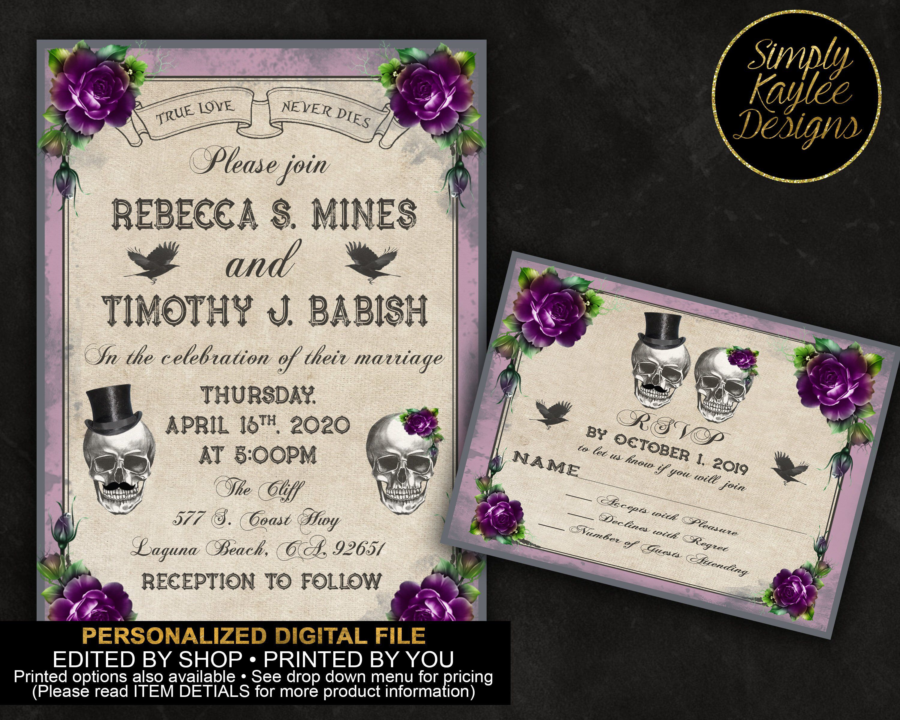 Gothic Wedding Invitation Skulls Wedding Invitation A Etsy Skull Wedding Invitation Gothic Wedding Invitations Wedding Invitations