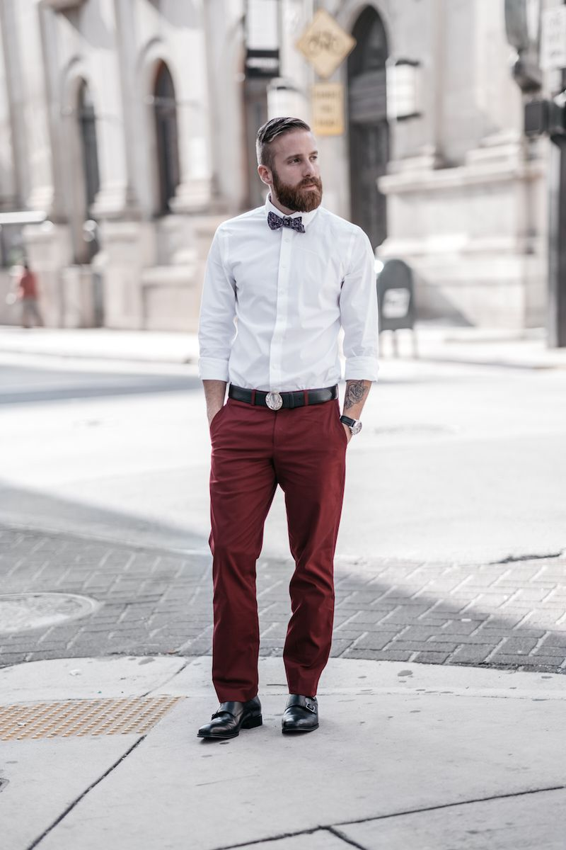 Couple Style- His and hers- Fashion- Men's Fashion- What to Wear to a  Rehearsal Dinner- Express Men- Bow Tie- Burgundy Pants for men