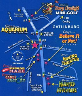 Pigeon Forge Attractions Map Here is a map of all of the Ripley's Attractions in Gatlinburg and