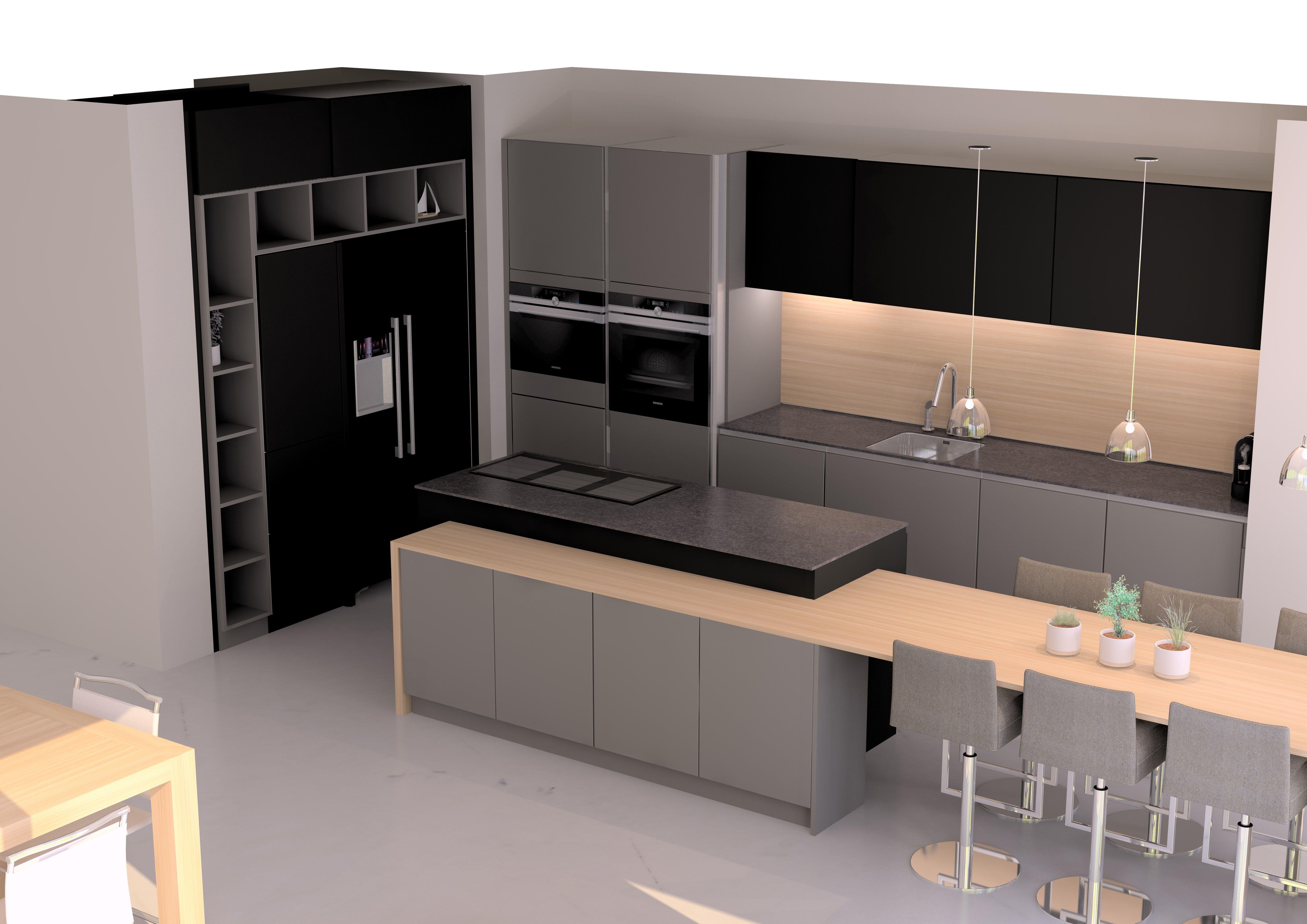 cuisine design en laque grise et noire sans poign es avec il t central plan granit et plan repas. Black Bedroom Furniture Sets. Home Design Ideas