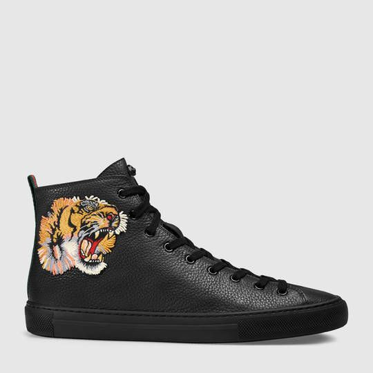 Gucci Leather high-top with tiger