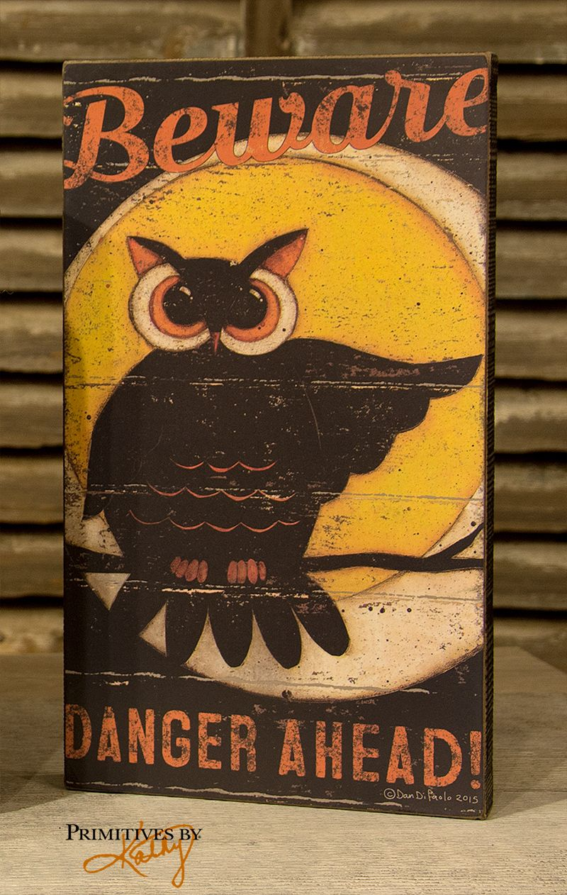 halloween decor by primitives by kathy owl sign - Primitives By Kathy Halloween