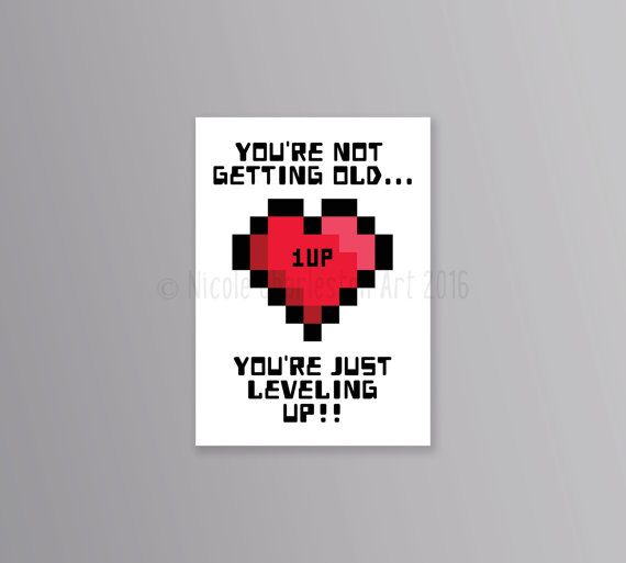 Gamer Birthday Card Geeky By NicoleCharlestonArt
