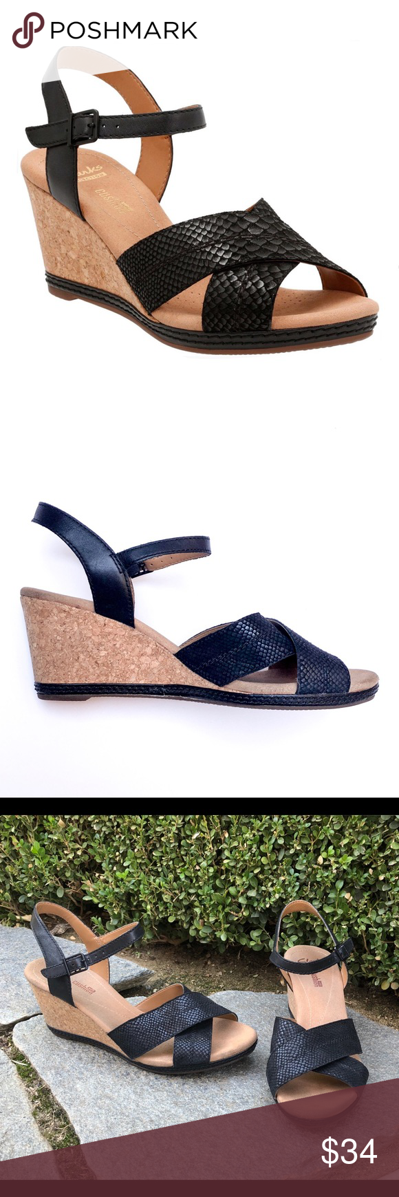 "9009b9c8f3b Clarks Black Helio Latitude Wedge Ankle Sandal 10 Clarks Soft Cushion Helio  Latitude Black Leather (Snake Texture) 3"" Cork Wedge Heel Adjustable Ankle  strap ..."