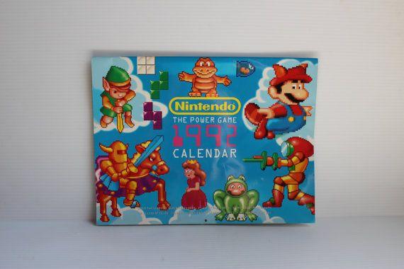 Nintendo The Power Game 1992 Calendar Vintage Nes Calendar Mario