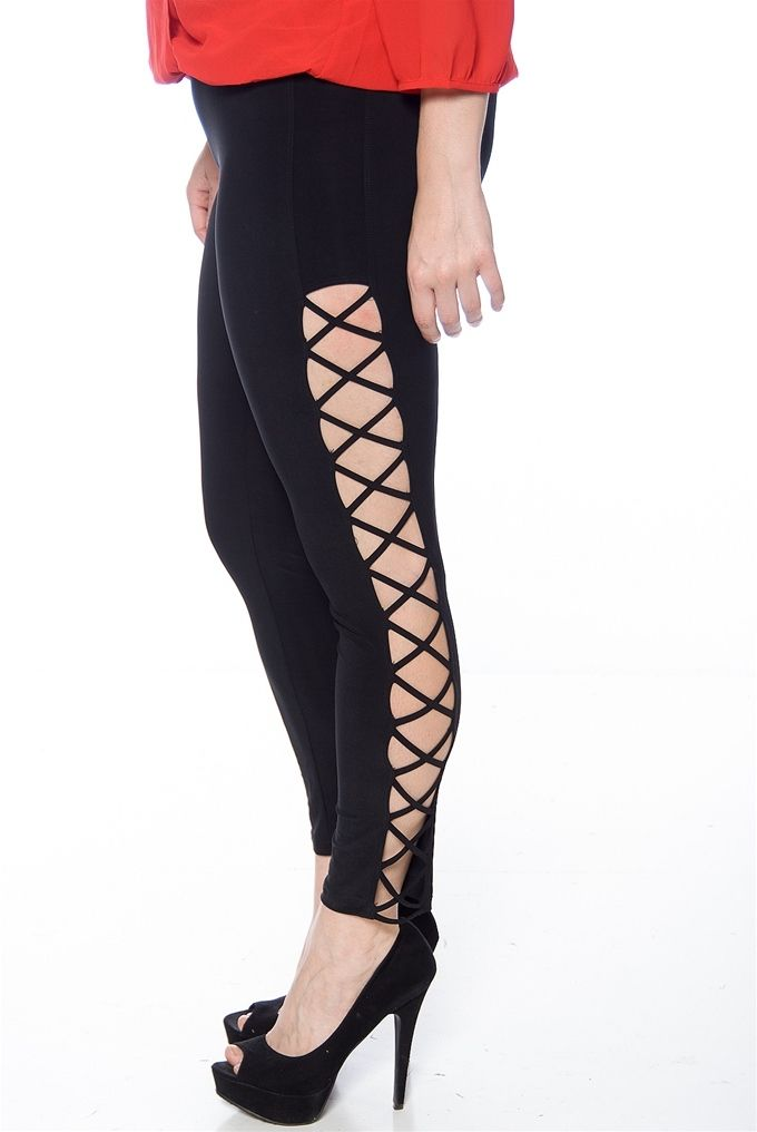 30d027066e2 Cross My Heart Criss Cross Side Plus Size Leggings - Black
