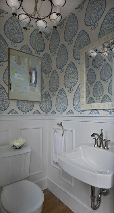 Paisley White Blue Wallpaper Powder Room