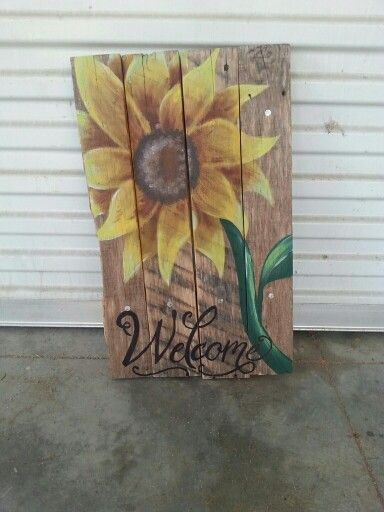 Sunflower Pallet Sign Crafty Pallet Signs Pallet