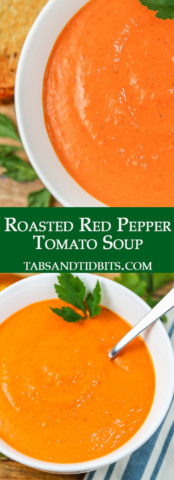 Roasted Red Pepper Tomato Soup Tabs Tidbits Recipe In 2020 Roasted Red Pepper Soup Homemade Soup Recipe Stuffed Peppers