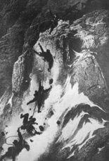 Absturz bei der Erstbesteigung 1865 ( illustration Gustave Doré)