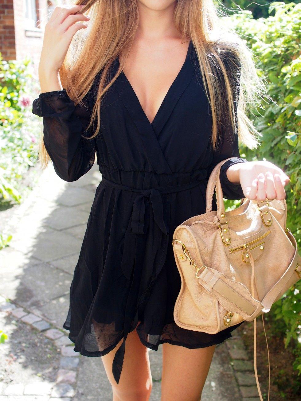 Black wrap dress fashion love pinterest
