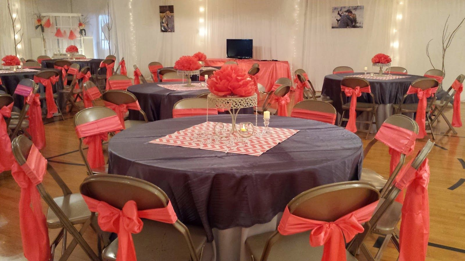 Cheap wedding reception images coral gray cute for Cheap decorating ideas for wedding reception tables